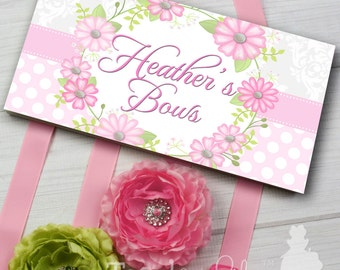 HAIR BOW HOLDER - Personalized Pretty Pink Floral Wreath HairBow Holder - Bows Clippies Organizer - Girls Personal Hair Bow Hb0139