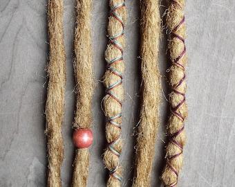 5 Custom Standard *Clip-in or Braid-in Synthetic Dreadlock Extensions Boho Dreads Hair Wraps & Bead (Caramel 27)