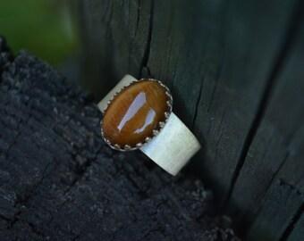 Tigers Eye Ring, Tigers Eye, Adjustable Brass Ring, Brass Ring, Brass Gemstone
