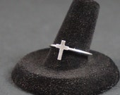 Tiny Cross Ring, Sterling Silver Ring, Cross Jewelry, Ring, Sterling Silver, Silver Ring, Cross Ring, Stacking Ring, Size 8