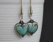 Turquoise Earrings Heart Shape Long Sterling Silver Ear Wires