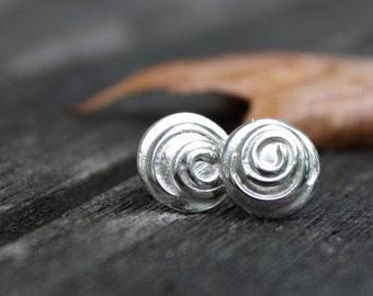 Swirl Sterling Silver Ear Studs, Handmade, Small Ear Studs