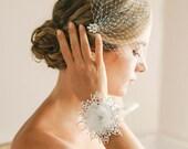 Wedding wrist corsage, bridal lace corsage, bridal bracelet, bridal cuff,  bridesmaid bracelet- style 404