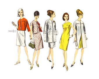 1960s Coat & Dress Pattern Vogue Special Design 6740 Sheath Dress with A-line Coat or Cropped Jacket, Bust 34 Uncut