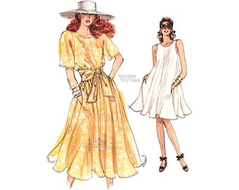 Easy Tent Dress Pattern Vogue 7210 Short Sleeves or Sleeveless Flared Pullover Dress in Two Lengths, Sizes 8 10 12, Uncut