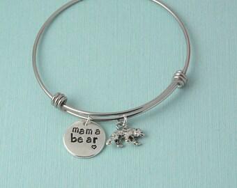 Mama Bear Bangle Bracelet, silver charm bracelet, mama bear, personalized