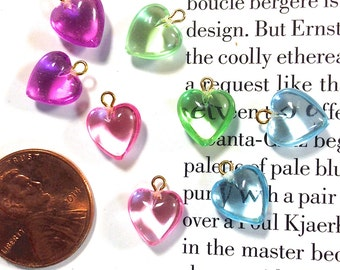 Puffed Heart Charms, Mini Heart Charms, Resin hearts with Metal Loops, Jewel colored Hearts x 12