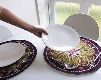 SALE : Paisley Tablemats / Flower Table Linen / Round Cotton Place Mats / Fabric Placemats / Purple Table Decor