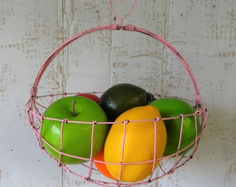 Hanging Woven Wire Basket In Distressed Pink