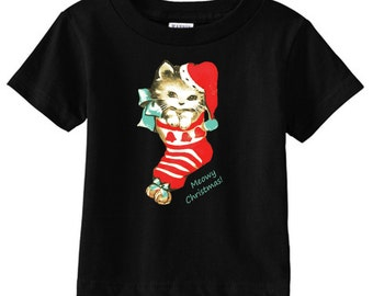 baby clothes - baby Christmas outfit - toddler Christmas shirt - toddler cat shirt - baby cat - Christmas cat - MEOWY CHRISTMAS - t shirt