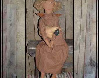 Primitive Folk Art Cupboard Angel handmade sheep wire halo metal wings FAAP ofg hafair