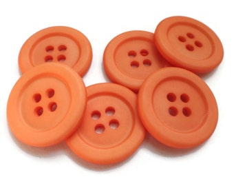Orange Sherbet Vintage Buttons - 6 in Your Choice of Sizes for Sewing Knitting Blazer Coat Jacket