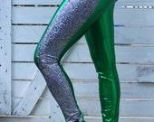 SALE glitter leggings// green and silver pants // st. Patrick's day leggings