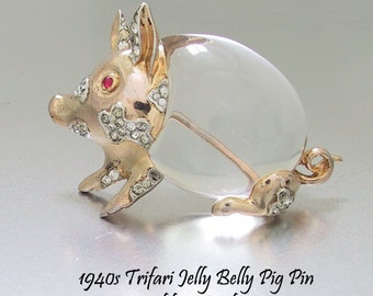 Trifari Sterling Jelly Belly Pig Pin 1943 Vermeil A. Philippe Patent 135173