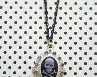 Purple skull and crossbones on black rhinestone embellished gothic lolita skull cameo necklace