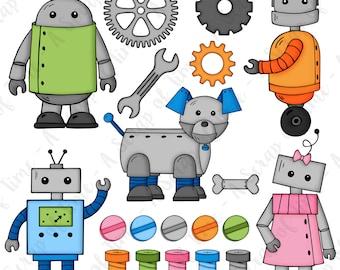 Robot Hand Drawn Digital Clipart - Set of 20 - Robots, Robot Dog, Robot Girl, Bolts, Gears- Instant Download - Item#9156