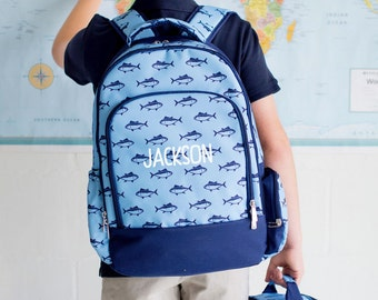 Personalized Blue Fish Print Boys Backpack and Lunch Bag Combo Set / Finn / Navy and Light Blue
