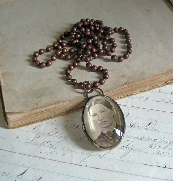 Antique Photo Cabinet Card Glass Bubble Jewelry Long Necklace