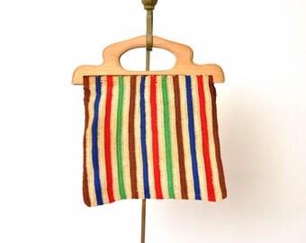 1930s purse / bright striped purse / crochet bag /  1940s purse