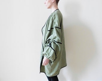 Reserved Avant Garde Linen Jacket with Drawstring Sleeves