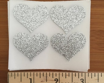 envelope seals -  silver glitter heart seals - stickers