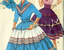 Vintage 50s Simplicity 4916 Misses Squaw Full Tiered Skirt, Blouse and Cummerbund Sewing Pattern Size 14 Bust 32