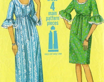 Vintage 60s Simplicity 6484 Misses Empire Waistline Dress with Flounce Sleeves Sewing Pattern Size 12 Bust 32