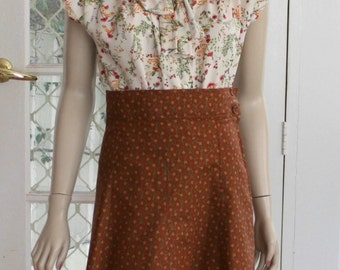 1940's Gored A Line SKIRT with detachable Suspenders
