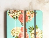 One iPhone Wallet Case Peony Bunch on Blue, iPhone 6/ 6S / 7 Plus Floral Womens Wallet Flip Case