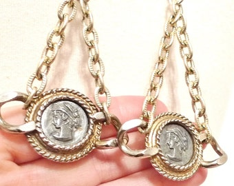 Greco Roman Cameo Coin Chain Earrings OOAK Handmade Dangly Chandelier Dangle Earrings from VIntage Goldtone Chain