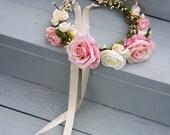 Pet Flower crown floral dog collar pink peach bridal wedding hair wreath dance recital event hairpiece puppy halo wedding accessories