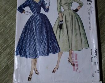 Vee Neck Vintage 50's McCall's Dress Pattern #9572