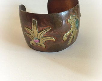 Vintage Copper and Abalone Cuff Bracelet Cactus Aloe