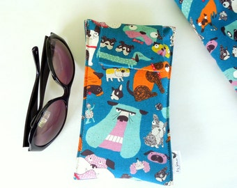 Roomy Sunglasses Case in a Kokka Dog and Puppy Design