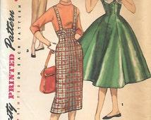 Simplicity 1733 1950s Teen Jumper with Two Skirts Vintage Sewing Pattern Waist 24 High Waist Wiggle Skirt Rockabilly