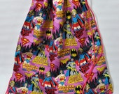 Batgirl, Supergirl, Wonder Woman Drawstring Backpack
