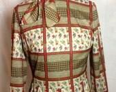 1970s Bleeker Street Stretch Knit Dress in Equestrian Pattern - Small Medium