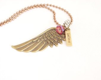 angel wing necklace, believe necklace, guardian angel necklace, faith jewelry, believe