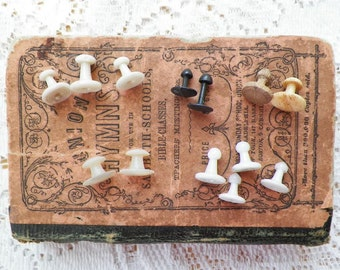 Antique / Vintage Small Button Studs / Collar Studs / Shirt Studs, White Milk Glass, Wood, Shell / Mother of Pearl / MOP