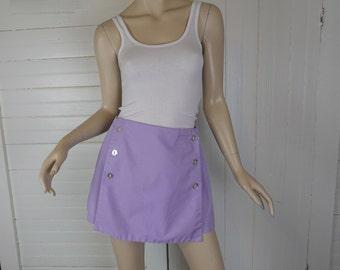 Lavender Mini Skort- 1970s / 70s Shorts / Mini Skirt- Small