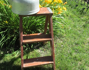 Primitive Step Ladder Wood Garden Decor Red with Paints Splatters