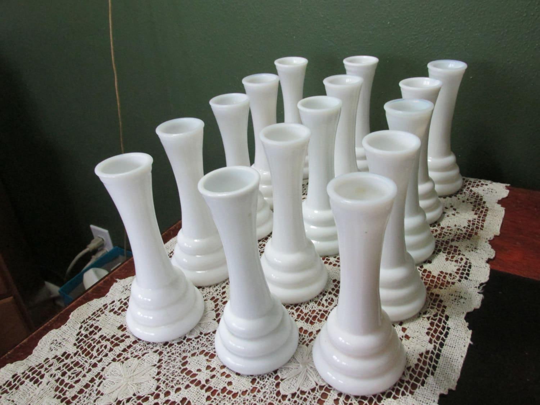 milk glass bud vases set of 15 wedding table vase by. Black Bedroom Furniture Sets. Home Design Ideas