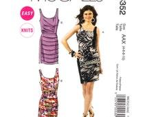 Womens Dress Pattern McCalls 6352 Sleeveless Fitted Draped Dress Horizontal Pleated Skirt Womens Sewing Pattern Size 4 6 8 10 UNCUT