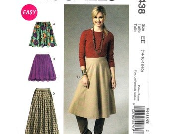 Flared Skirt Sewing Pattern McCalls 6438 Womens Size 14 16 18 20 Easy Full Mini Skirt
