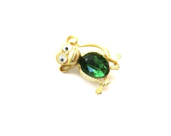 Vintage Googly Eye / Google Eye Green Rhinestone Jelly Belly Gold Tone Metal Unmarked Animal Monkey Brooch