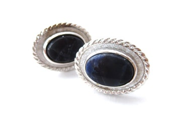 Pair of Vintage Signed Dante Oval Shaped Genuine Sodalite Cabochon Silver Tone Metal Cuff Links / Cufflinks