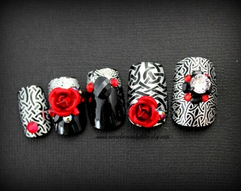 Dark Celtic Soul | Gothic Nails | Vampire Nails | Black Silver Red Nails | Celtic Inspired False Nails Set | Goth Press On Nails for Vamps