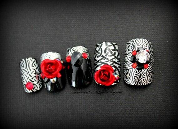 Dark Celtic Soul. Gothic Nail Art, Fake Nail, Japanese 3D Nail Art, Gothic Fake Nail, False Nails Set, Rose, Celtic, Vampire,Press On Nail