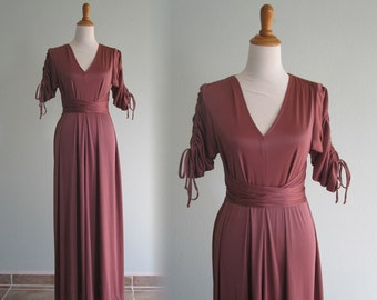 Elegant 70s Mauve Jersey Gown with Ruched Shoulders - Vintage 30s Style Dusty Rose Long Dress - Vintage 1970s Dress M L