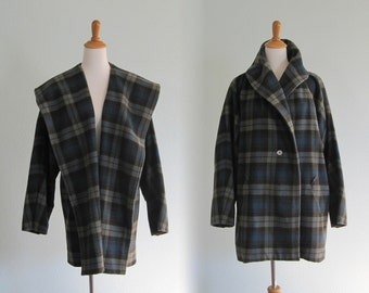 Vintage 90s Coat - Chic 90s Green Plaid Shawl Collar Wrap Coat - Vintage Banana Republic Coat - Vintage 1990s Wool Coat L